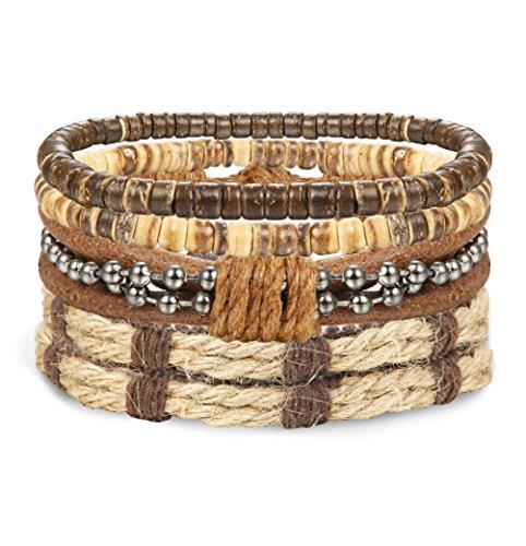 ORAZIO 4-12Pcs Wooden Beaded Bracelet Leather Braided Bangle for Men and Women Elastic 5-8MM Beads - 7 Bracelet Bangle Mm