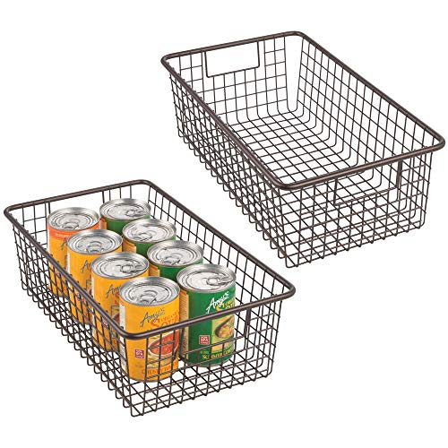 mDesign Modern Farmhouse Metal Wire Storage Organizer Bin Basket with Handles for Kitchen Cabinets, Pantry, Closets, Bedrooms, Bathrooms - 16.25 Long, 2 Pack - Bronze