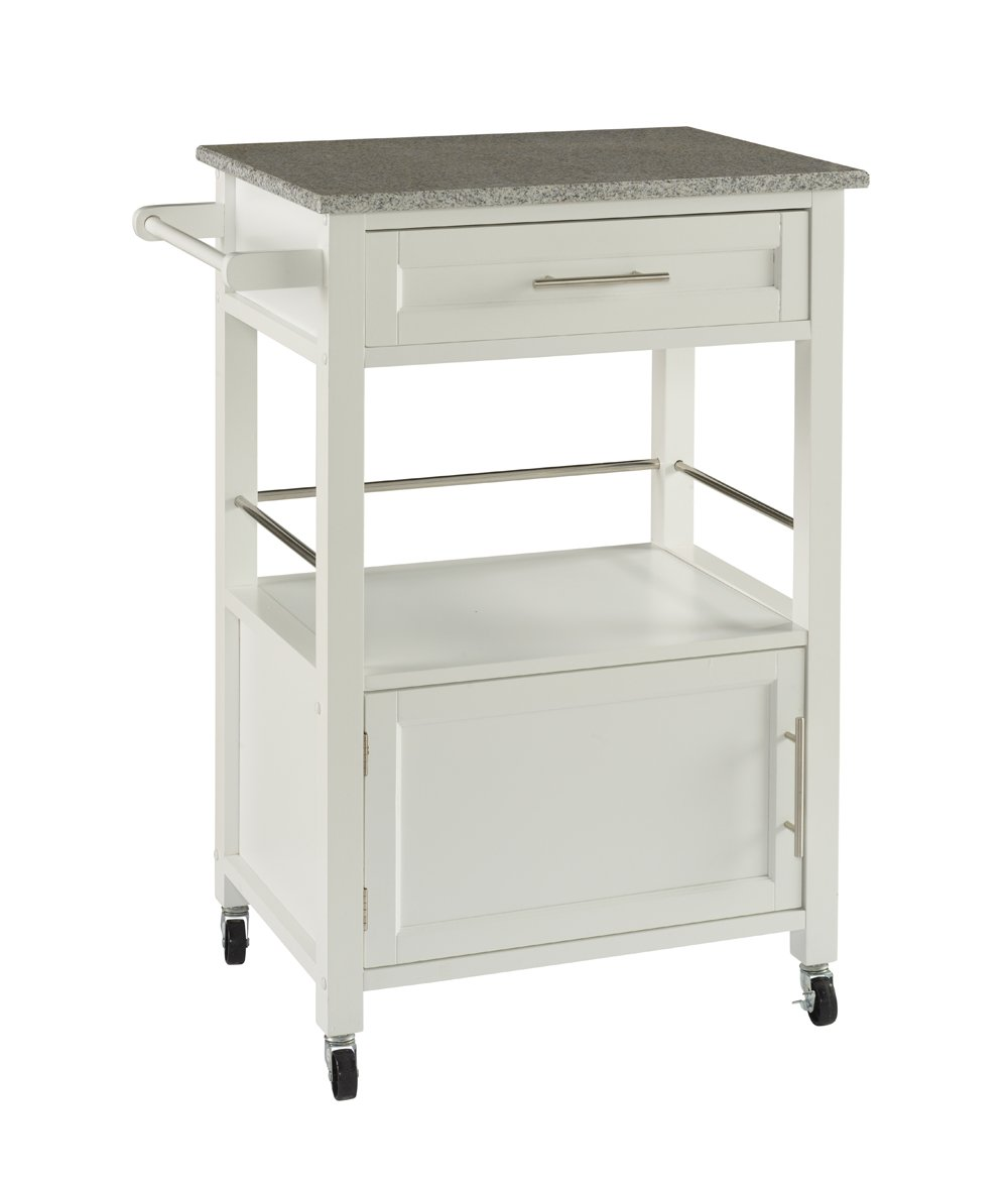 Linon White Storage Cart On Wheels With Granite Top. Great For Small Kitchens!!