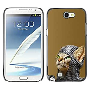 // PHONE CASE GIFT // Duro Estuche protector PC Cáscara Plástico Carcasa Funda Hard Protective Case for Samsung Note 2 N7100 / Chainmail Warrior Cat /