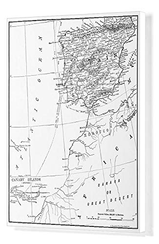 Media Storehouse 20x16 Canvas Print of Antique Illustration from US Navy and Army Spain, Portugal (18298727) (Map Of Spain And Portugal And Morocco)