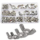 90pcs Wing Butterfly Nut Metric Threaded Thumb Wingnuts M3 M4 M5 M6 M8 M10 M12 Fasteners Assortment Kit with Case,304Stainless Steel