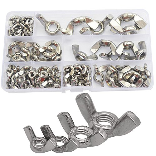 90pcs Wing Butterfly Hand Tighten Nut Metric Threaded Thumb Ingot Wingnuts with Case M3 M4 M5 M6 M8 M10 M12 Fasteners Hardware Assortment Kit Set 304 Stainless Steel