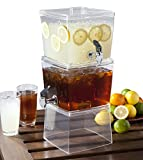 CreativeWare 2 Units 1.5 gallon Stacking Beverage Dispenser, Clear