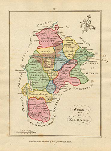 Amazon Com County Of Kildare Leinster Antique Copperplate Map By