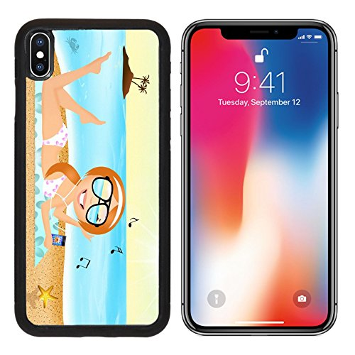 MSD Premium Apple iPhone X Aluminum Backplate Bumper Snap Case girl with headphone music on the beach Image ID 27428180 (Sunray Headphones)