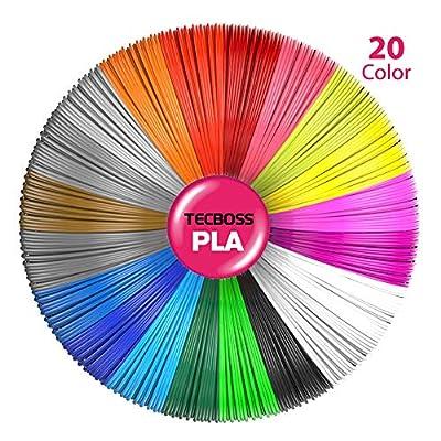 Tecboss 3D Pen/3D Printer Filament, 1.75mm PLA Filament Pack of 20 Different Colors,High-Precision Diameter Filament, Each Color 16 Feet, Total 330 Feet Lengths, Bonus 4 Glow in The Dark