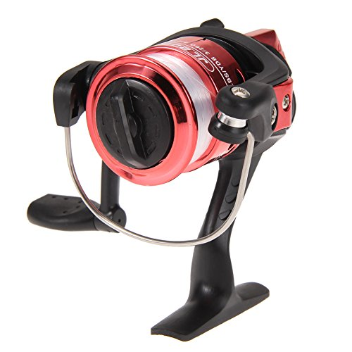 Vktech Aluminum Body Spinning Reel High Speed G-Ratio 5.2:1Fishing Reels with Line (Red)