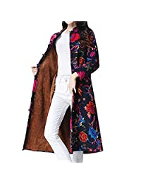 Women Folk-Custom Print Velvet Cotton Outwear Warm Long Thick Coat Jacket Parka