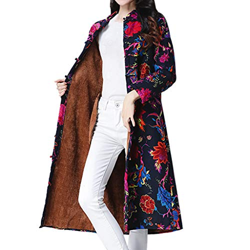 JOFOW Womens Shirt Jacket Long Cardigans Plus Size Flowers Painting Print Ethnic Vintage Fleece Lined Warm Loose Coats (2XL =US:10-14,Navy)