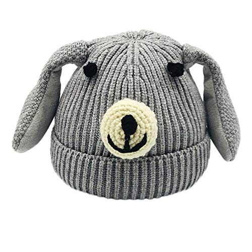 MONsin Kids Toddler Infant Baby Hat Fur Knitted Cute Cartoon Dog Beanie Warm Cap Hats Ears (Gray)