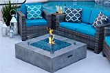 42'' x 42'' Square Modern Concrete Fire Pit Table w/ Glass Guard and Crystals in Gray by AKOYA Outdoor Essentials (Onyx Black)