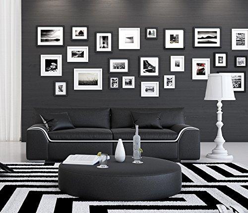 SAM® Design Wohnzimmer Sofa Arica in schwarz mit weißem Akzent ca. 200 cm breit 2-Sitzer designed by Ricardo Paolo® pflegeleichte Oberfläche angenehmer Sitzkomfort zwei Kissen inklusive Lieferung per Spedition