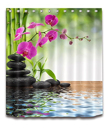 wer Curtain Buddha Water Yoga Hot Spring Meditation Decoration Polyester Fabric 60x72 inch Waterproof Bamboo Flower Cobble Stone Bathroom Bath Curtains Set Hooks (Zen Bath)