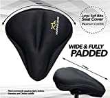 Large Bike Seat Cushion Cover - Used for Maximum Comfort - Helps as Padded Gel Cover and Saddle Protector in Most Stationary, Indoor, Gym and Cruiser Bikes. Dimensions 11x10