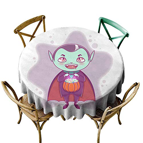 SKDSArts Round Tablecloth spillproof Halloween Little Vampire Dracula Boy Kid with Smiling face in Halloween Costume with Pumpkin in his Hands D70,Round Tablecloth]()