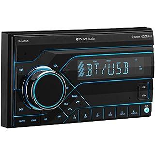 Sale Off Planet Audio PB455RGB Car Stereo - Double Din Bluetooth MP3/USB (No CD/DVD) AM/FM Radio Multi Color RGB Illumination Wireless Remote