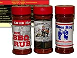 Championship Barbecue BBQ Dry Rub Sampler Bundle (Killer Hogs BBQ Rub, Blues Hog Dry Rub, and Plowboys Yardbird) with Complimentary Miniature Meat Smoking Guide Magnet