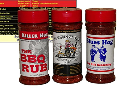 Championship-Barbecue-BBQ-Dry-Rub-Sampler-Bundle-Killer-Hogs-BBQ-Rub-Blues-Hog-Dry-Rub-and-Plowboys-Yardbird-with-Complimentary-Miniature-Meat-Smoking-Guide-Magnet