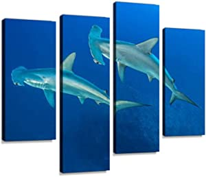 Scalloped Hammerhead Shark Canvas Wall Art Hanging Paintings Modern Artwork Abstract Picture Prints Home Decoration Gift Unique Designed Framed 4 Panel