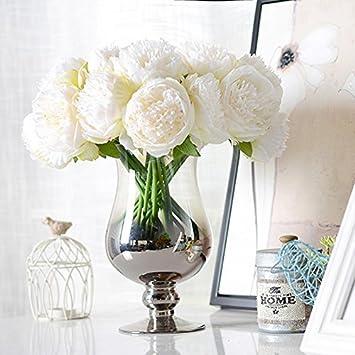 UArtlines 2 Bouquet 10Heads Artificial Peony Silk Flower Leaf Home Office Wedding Party Festival Bar Decor White