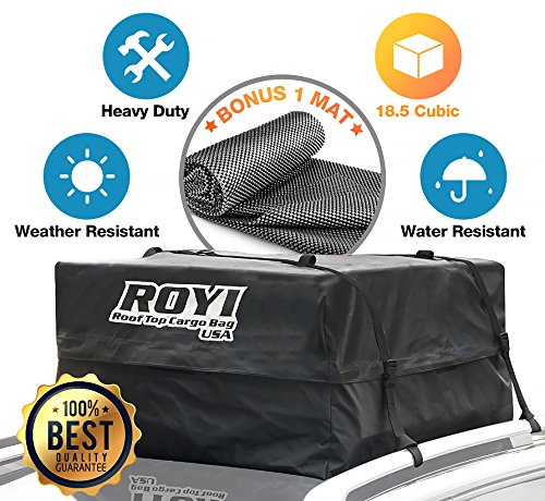 18.5 Cubic Ft 100% Waterproof Roof Cargo Bag Storage Space Dual Seam & Sturdy Straps Heavy Duty Top Carrier Storage Box 3Year Warranty Bonus 1 Rooftop Protective Mat Fit Cars ()
