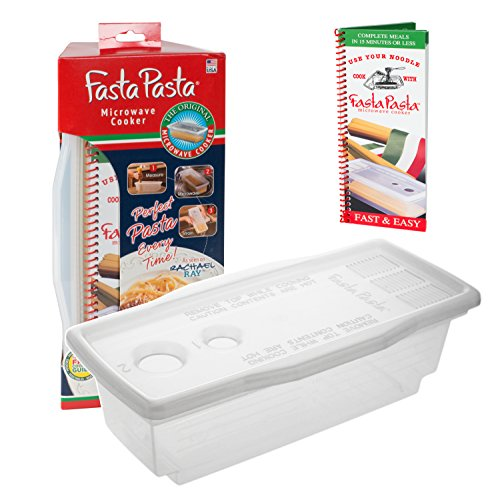 Pasta Boat - Microwave Pasta Cooker - The Original Fasta Pasta with Spiral Cookbook - No Mess, Sticking or Waitng for Water to Boil