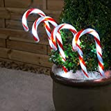 Christmas Candy Cane LED Lights 4 Pack, Pathway Outdoor Garden Decorations, Battery or Mains, Red & White or Multi-Coloured, Small 26cm
