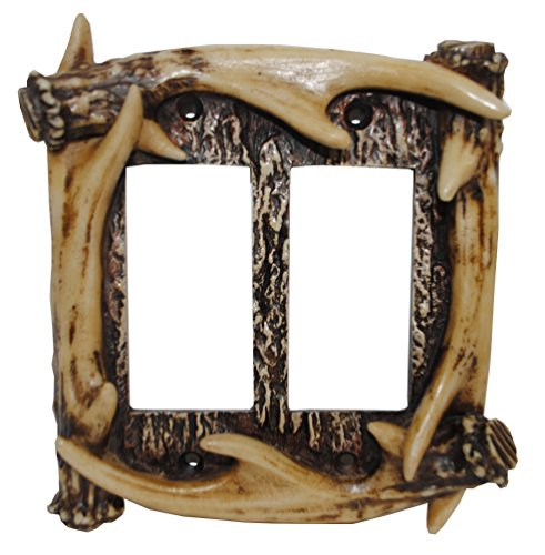 HiEnd Accents Antler Double Rocker Plate (Antler Outlet Cover)