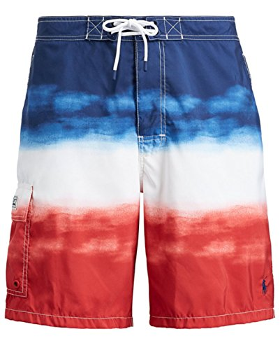 Polo Ralph Lauren Men's American Flag Swim Trunks (Medium, Red White Blue Ombre)