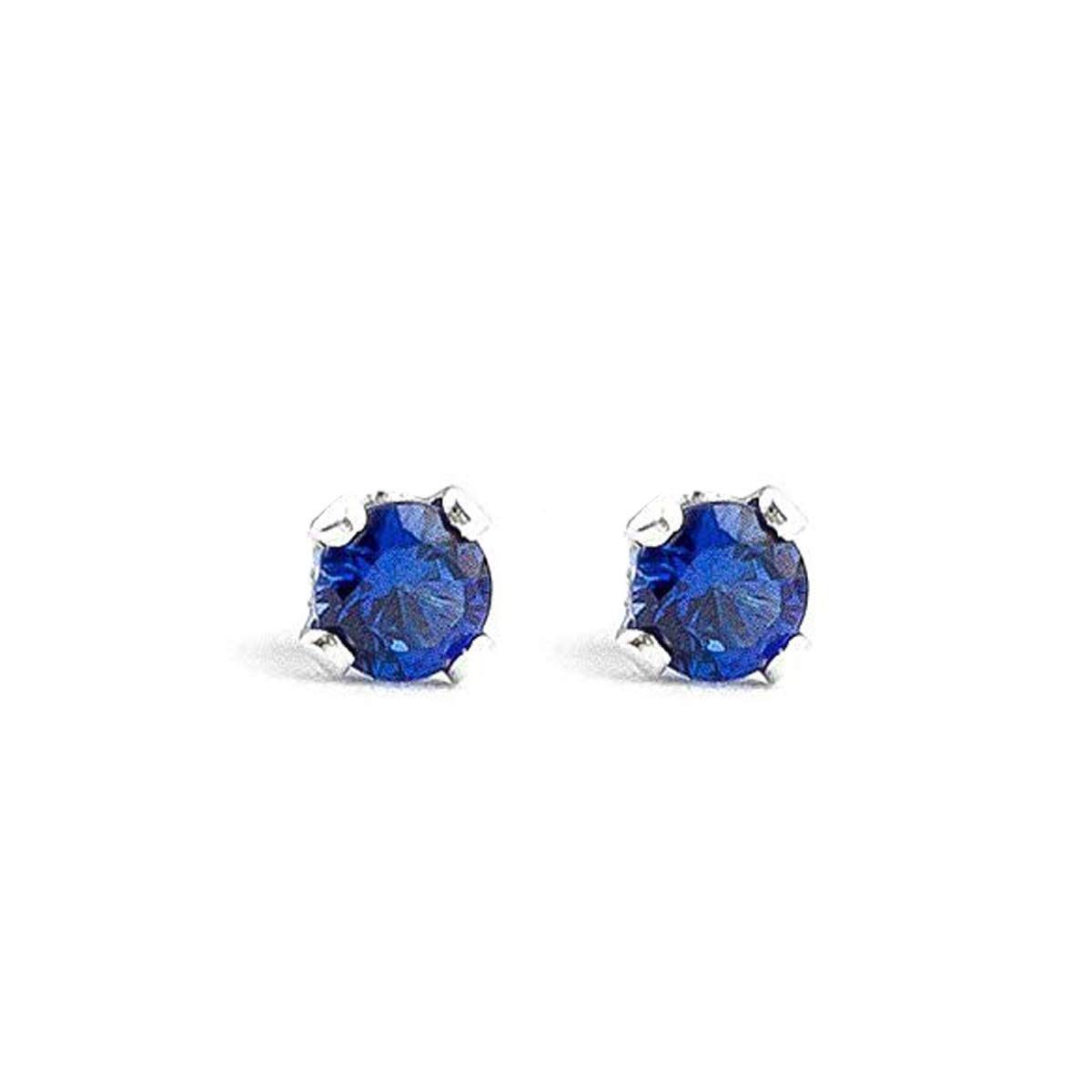 3mm Tiny Blue Sapphire Gemstone Stud Earrings in Sterling Silver - September Birthstone