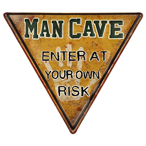 (Excello Global Products Man Cave Sign: Enter at Your Own Risk Novelty Sign Weathered Metal Surface Vintage Style)