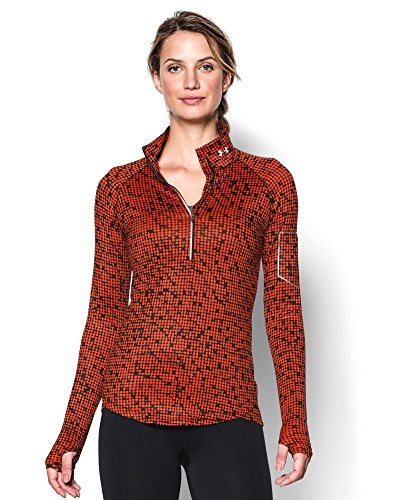 Womens Under Armour Fly Fast Printed 1/2 Zip, Dark Orange/Black , Small