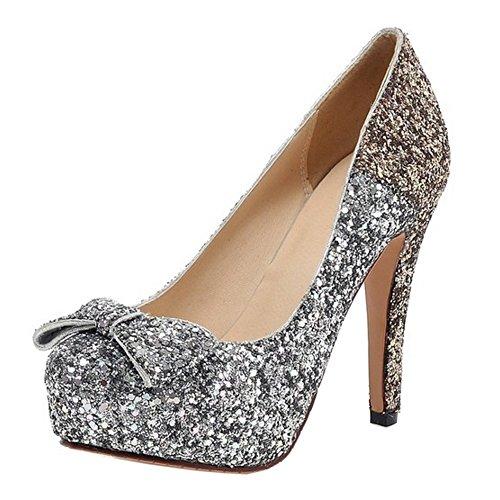 COOLCEPT Mujer Moda Sin Cordones Tacon de Aguja Bombas Zapatos Shiny Glitter Cerrado Boda Zapatos With Bowknot Oro