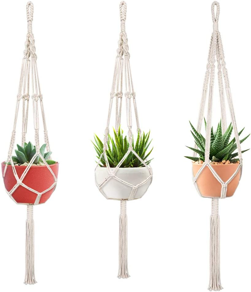 Macrame Plant Hangers, FIREOR 3 Pack Plant Hanger Indoor Outdoor Hanging Planters Flower Pot Holder Basket - 4mm Cotton Rope, 41 Inch
