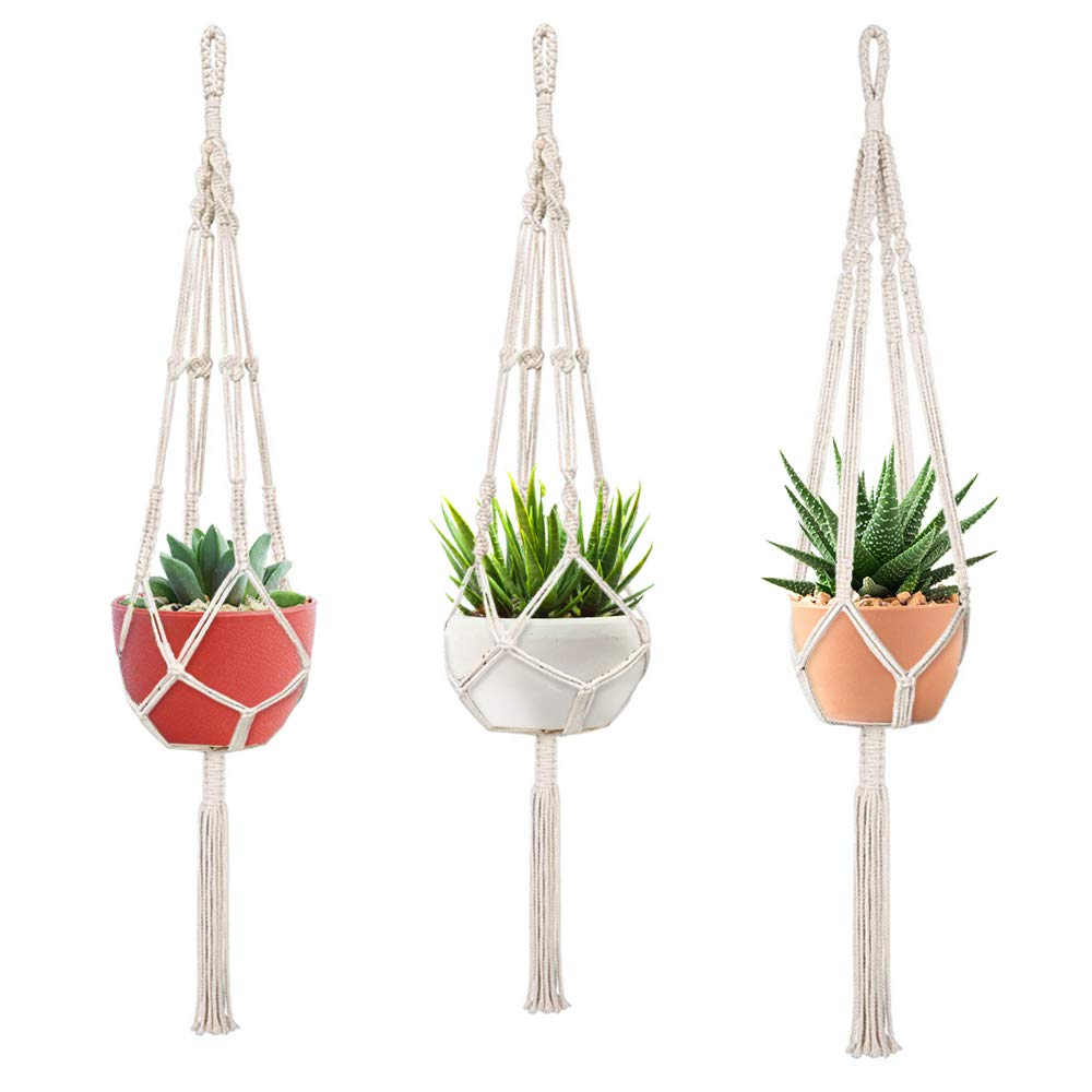 Macrame Plant Hangers, FIREOR 3 Pack Plant Hanger Indoor Outdoor Hanging Planters Flower Pot Holder Basket – 4mm Cotton Rope, 41 Inch
