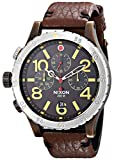 Nixon Men's 48-20 Gun Rose Stainless Steel Chronograph Watch With Leather Band