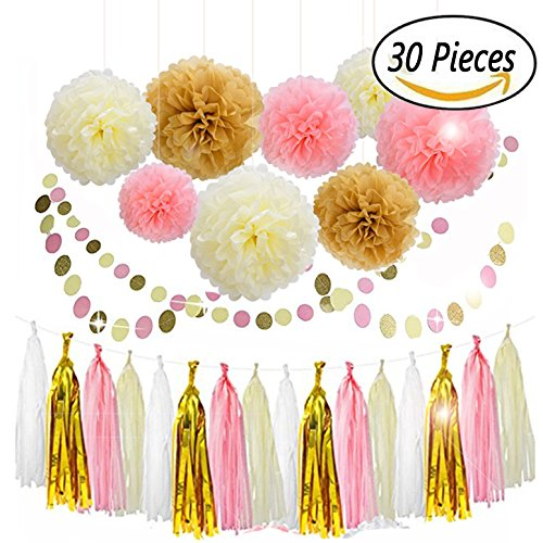 30PCS Tissue Paper Pom Pom Flowers Pink White Gold Tassel Garland Banner for Mothers Day Wedding Birthday Graduation Baby Shower Decorations Party Supplies
