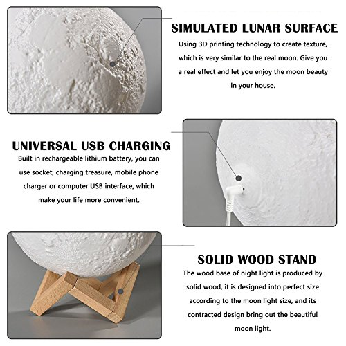 Baby Night Light, Newborn Night Light, Nursery Room Lamp, 3D Moon Lamp, Rechargeable Home Decorative Light, Dimmable Touch Control Brightness, Soothing Light, Relaxing Lamp, Helps You Sleep by Tmore (Image #6)