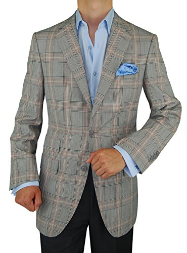 DTI GV Executive Italian Men's Wool Suit Jacket 2 Button Modern Fit Blazer Coat (40 Regular US / 50R EU, - Italy Sport Linen Coat