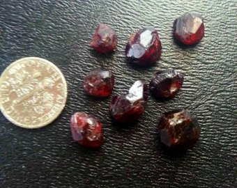 8 Red Garnets. High Quality Gemstone Rough, Parcel For Wire Wrapping/ Jewelry.