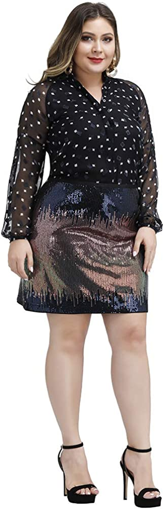Love is Lovely Womens Plus Size High Waist Christmas Glitter Bodycon Cocktail Party Club Sequin Sparkle Mini Skirt