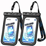 Mpow IPX8 Waterproof Case Cellphone Dry Bag, Durable Waterproof Underwater Case Compatible with iPhone X/8/7/7 Plus,6/6s,5/5s Plus, Google Pixel, HTC, LG, Huawei, Sony, Nokia (2-Pack)