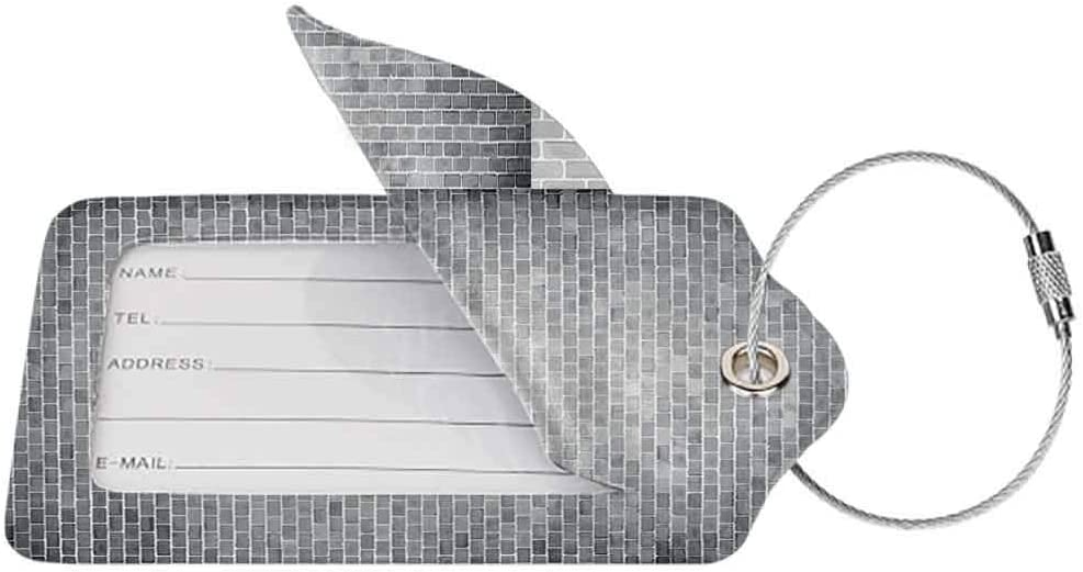 Waterproof luggage tag Modern Decor Grunge Brick Wall Featured Urban Life Construction Architecture Artisan Photo Print Soft to the touch Grey W2.7 x L4.6