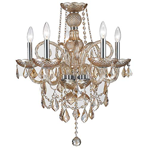 Worldwide Lighting Provence Collection 5 Light Chrome Finish and Amber Crystal Chandelier 20