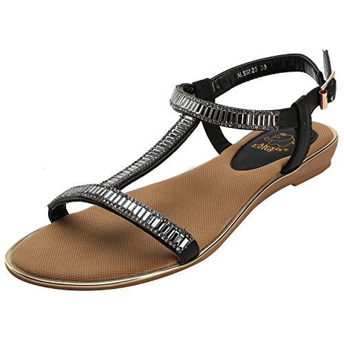 Alexis Leroy Mujeres Summer T-straps Hebilla Sandalias Planas Negro