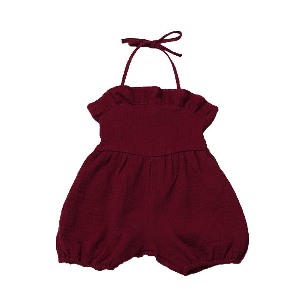 HANANei Baby Dress Summer Toddler Kids Girls Ruffles Solid Suspenders Romper Jumpsuit Clothes (12-18 M, Wine)