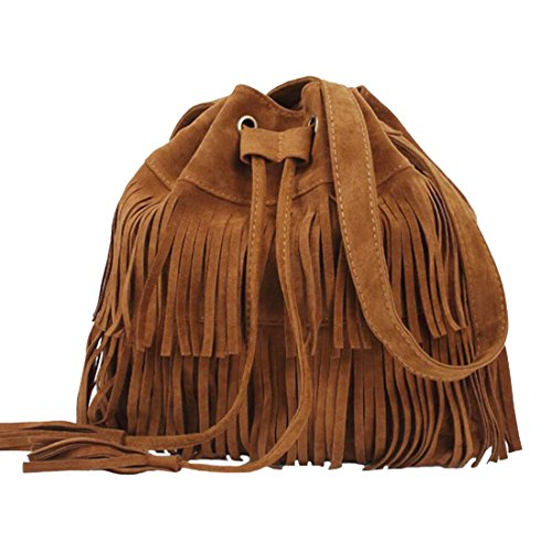 FXTXYMX Fringe Purse Vintage Suede Tassel Shoulder Bucket Bag Crossbody Bag Handbag for Woman and Teen Girls (Orange Brown)