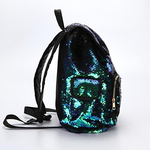 School Reversible Sequin Kids Mermaid Backpack School Yoga Bag Sports Bag Green Travel Outdoors Glittering for Dance Magic HARRYSTORE Lightweight Girls for Women 0qgd0