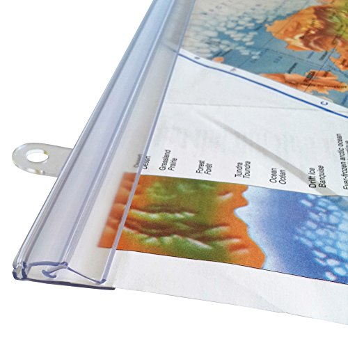 goKelvin 48 Inch Hanging Rails for Posters, Signs, and Maps (Clear) ()
